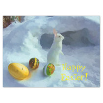 Easter bunny in snow with eggs tissue paper