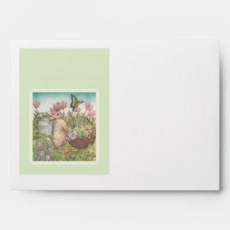 Easter bunny in spring garden custom envelope