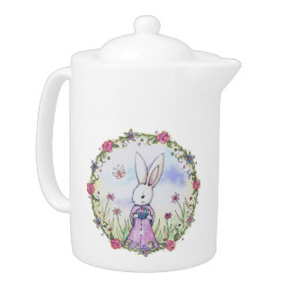 Easter Bunny in the Flowers Teapot