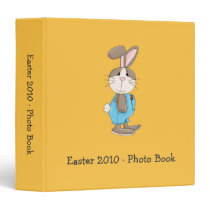 Easter Bunny in Turquoise Dungarees 3 Ring Binder
