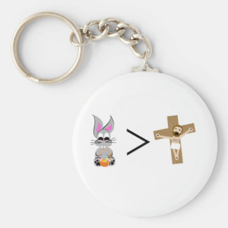 Easter Bunny is greater than Jesus Basic Round Button Keychain