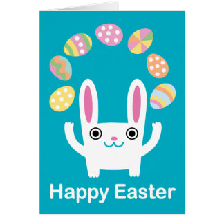 Easter Bunny juggler card