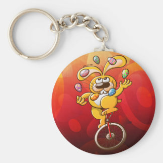 Easter Bunny Juggling Eggs Basic Round Button Keychain
