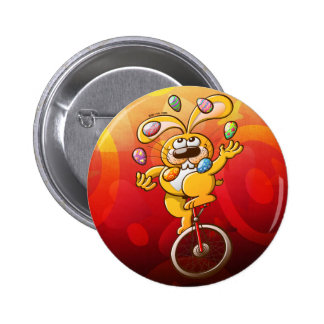 Easter Bunny Juggling Eggs Button