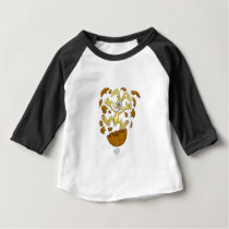 Easter bunny, jumping out of a chocolate egg. baby T-Shirt