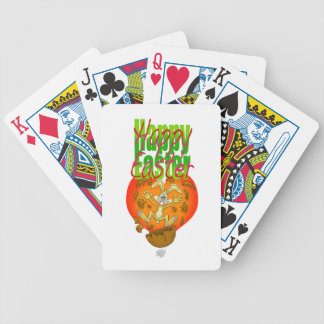 Easter bunny jumping out of chocolate egg. bicycle playing cards