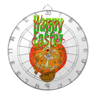 Easter bunny jumping out of chocolate egg. dartboard with darts