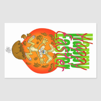Easter bunny jumping out of chocolate egg. rectangular sticker