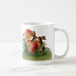 Easter Bunny Kiss Vintage Coffee Mug