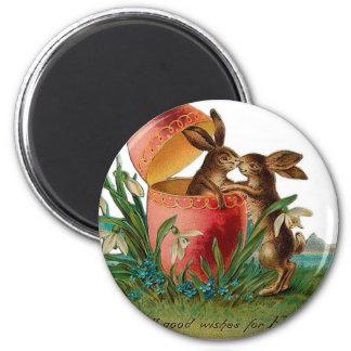 Easter Bunny Kiss Vintage Magnet