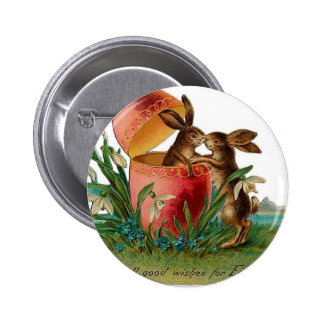 Easter Bunny Kiss Vintage Pinback Button