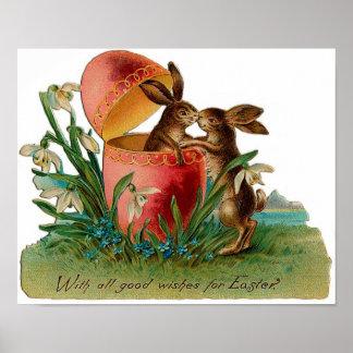 Easter Bunny Kiss Vintage Print