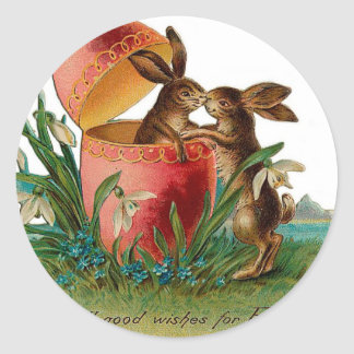 Easter Bunny Kiss Vintage Round Stickers