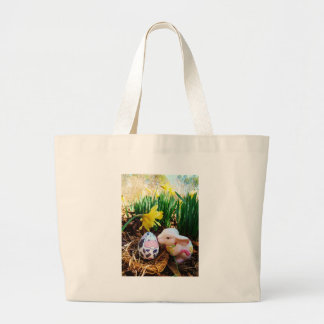 Easter Bunny kissing Cow Egg Tote Bags