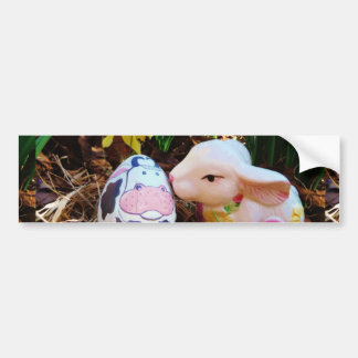Easter Bunny kissing Cow Egg Bumper Sticker