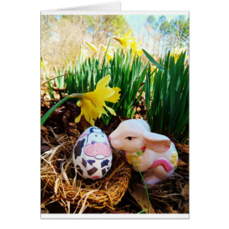 Easter Bunny kissing Cow Egg Card