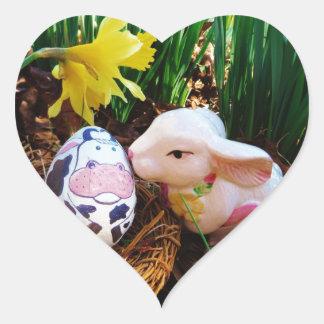 Easter Bunny kissing Cow Egg Heart Sticker