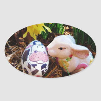 Easter Bunny kissing Cow Egg Oval Sticker