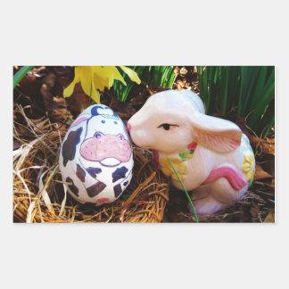 Easter Bunny kissing Cow Egg Rectangular Sticker