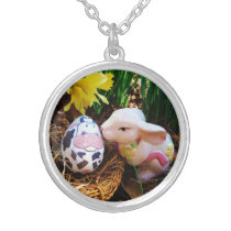 Easter Bunny kissing Cow Egg Silver Plated Necklace