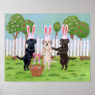 Easter Bunny Labradors Artwork Poster
