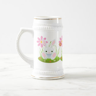 Easter bunny - Light Blue Bunny With Flowers 18 Oz Beer Stein
