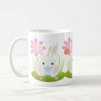 Easter bunny - Light Blue Bunny With Flowers Classic White Coffee Mug
