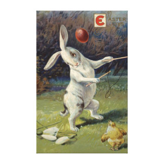 Easter Bunny Lily Colored Egg Canvas Print