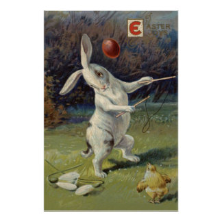 Easter Bunny Lily Colored Egg Poster