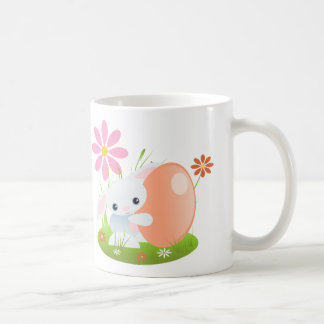 Easter bunny - Little Blue Baby Bunny With Flowers Classic White Coffee Mug