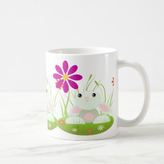 Easter bunny -Little Green Baby Bunny With Flowers Classic White Coffee Mug