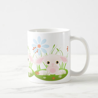 Easter bunny - Little Pink Baby Bunny With Flowers Classic White Coffee Mug