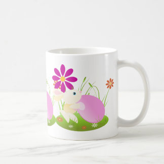 Easter bunny Little Yellow Baby Bunny With Flowers Classic White Coffee Mug