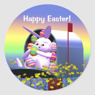 Easter Bunny Mail Round Sticker