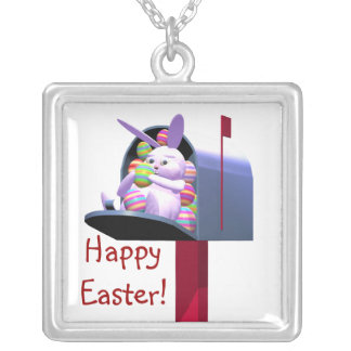 Easter Bunny Mail Square Pendant Necklace