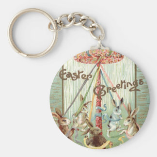 Easter Bunny Maypole Dance Ribbon Basic Round Button Keychain