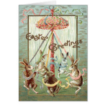 Easter Bunny Maypole Dance Ribbon Card