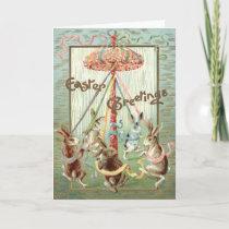 Easter Bunny Maypole Dance Ribbon Holiday Card