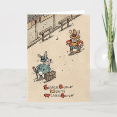 Easter Bunny Meets Wester Bunny Cards=