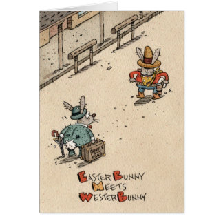 Easter Bunny Meets Wester Bunny Card