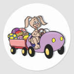 Easter Bunny Modern Deliveries Round Sticker