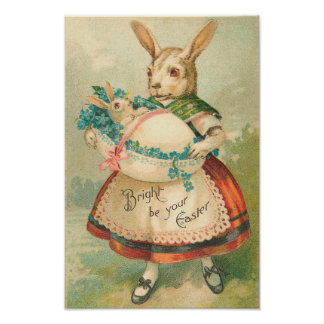 Easter Bunny Mother And Child Print