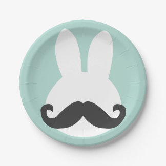 Easter Bunny Mustache Paper Plates