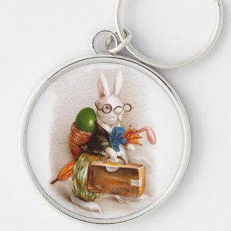 Easter Bunny on Tour Silver-Colored Round Keychain