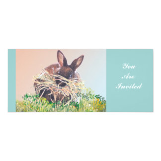 Easter Bunny or Nest Making Rabbit - Happy Easter 4x9.25 Paper Invitation Card
