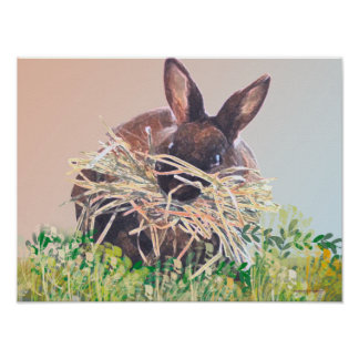 Easter Bunny or Nest Making Rabbit - Happy Easter Poster