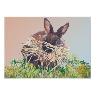Easter Bunny or Nest Making Rabbit - Happy Easter Print
