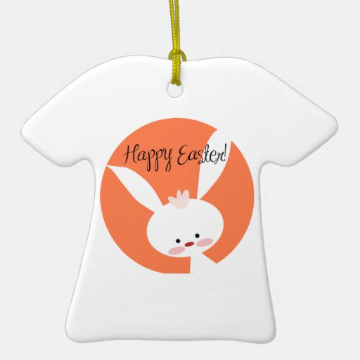 Easter Bunny Double-Sided T-Shirt Ceramic Christmas Ornament