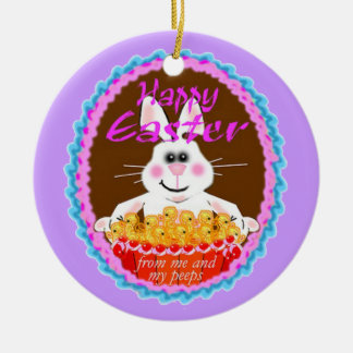 Easter Bunny Double-Sided Ceramic Round Christmas Ornament