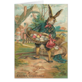 Easter Bunny Painted Colored Egg Children Cart Card
